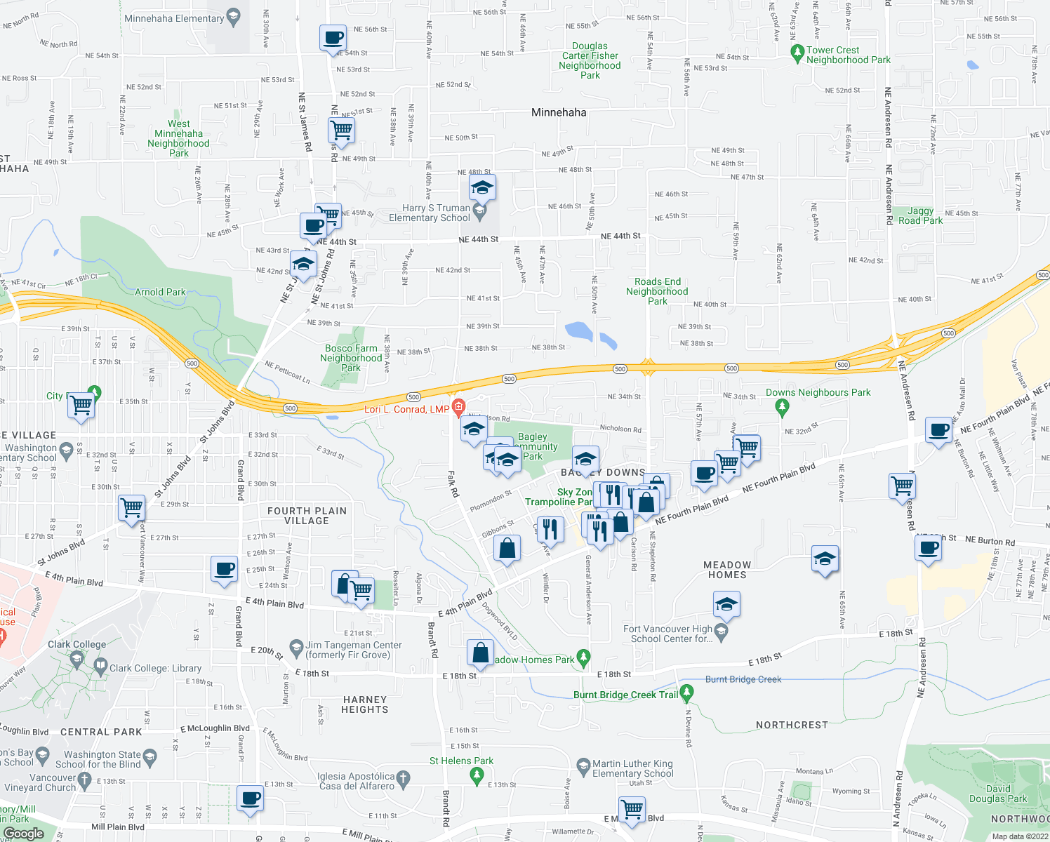 map of restaurants, bars, coffee shops, grocery stores, and more near 4401-4499 Nicholson Road in Vancouver