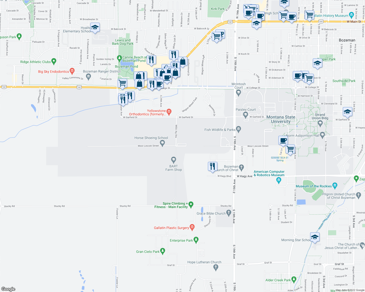 map of restaurants, bars, coffee shops, grocery stores, and more near W Lincoln St in Bozeman