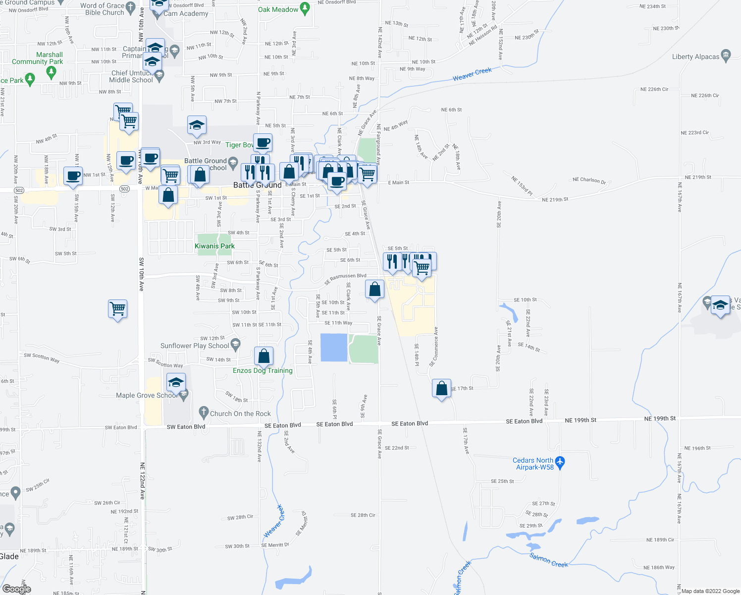 map of restaurants, bars, coffee shops, grocery stores, and more near 907 SE 9th Ct in Battle Ground