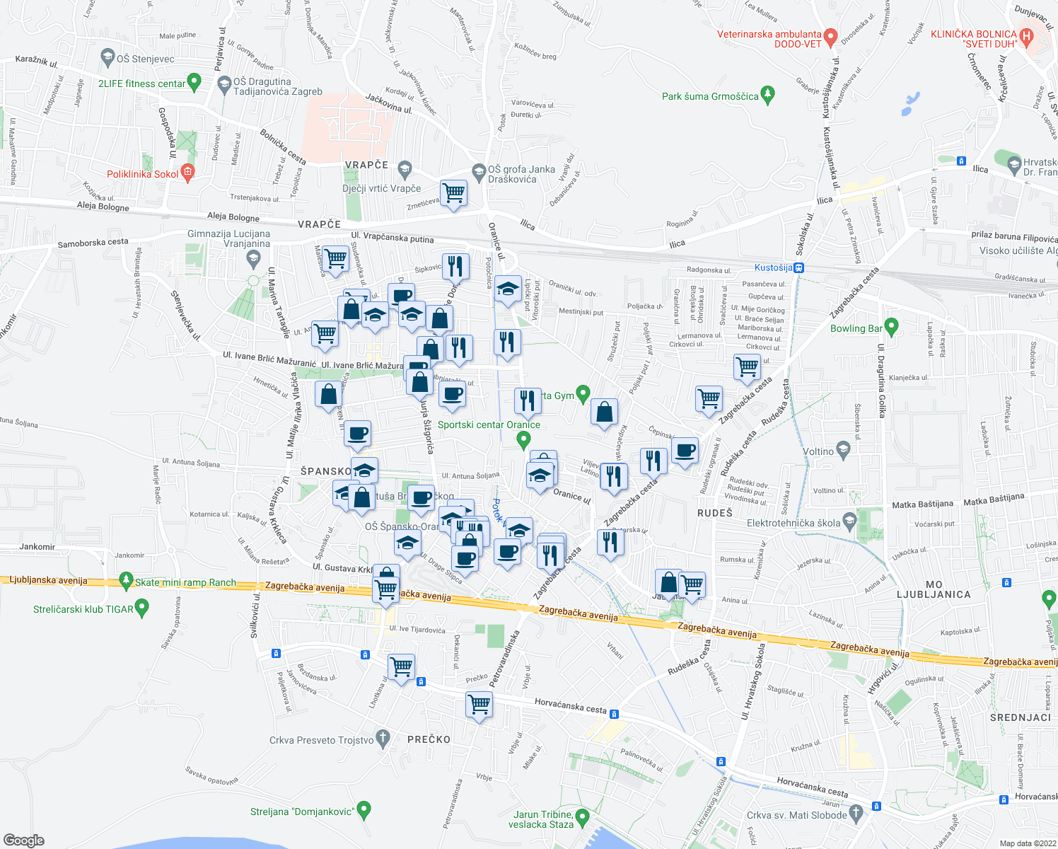 map of restaurants, bars, coffee shops, grocery stores, and more near 87 Oranice ulica in Zagreb