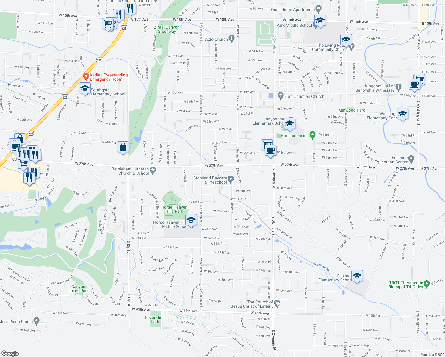 map of restaurants, bars, coffee shops, grocery stores, and more near South Tacoma Place in Kennewick