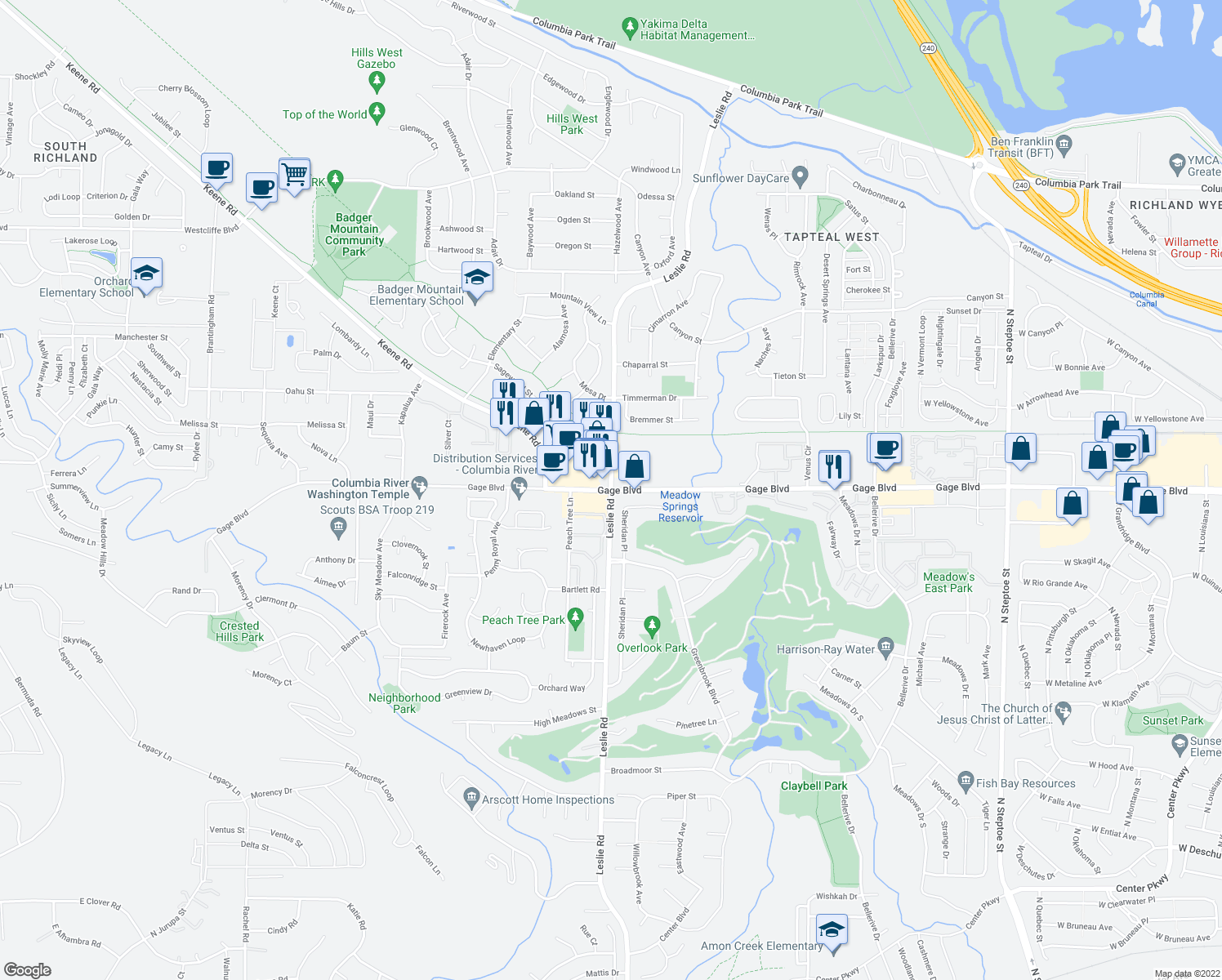 map of restaurants, bars, coffee shops, grocery stores, and more near Leslie Rd & Gage Blvd in Richland