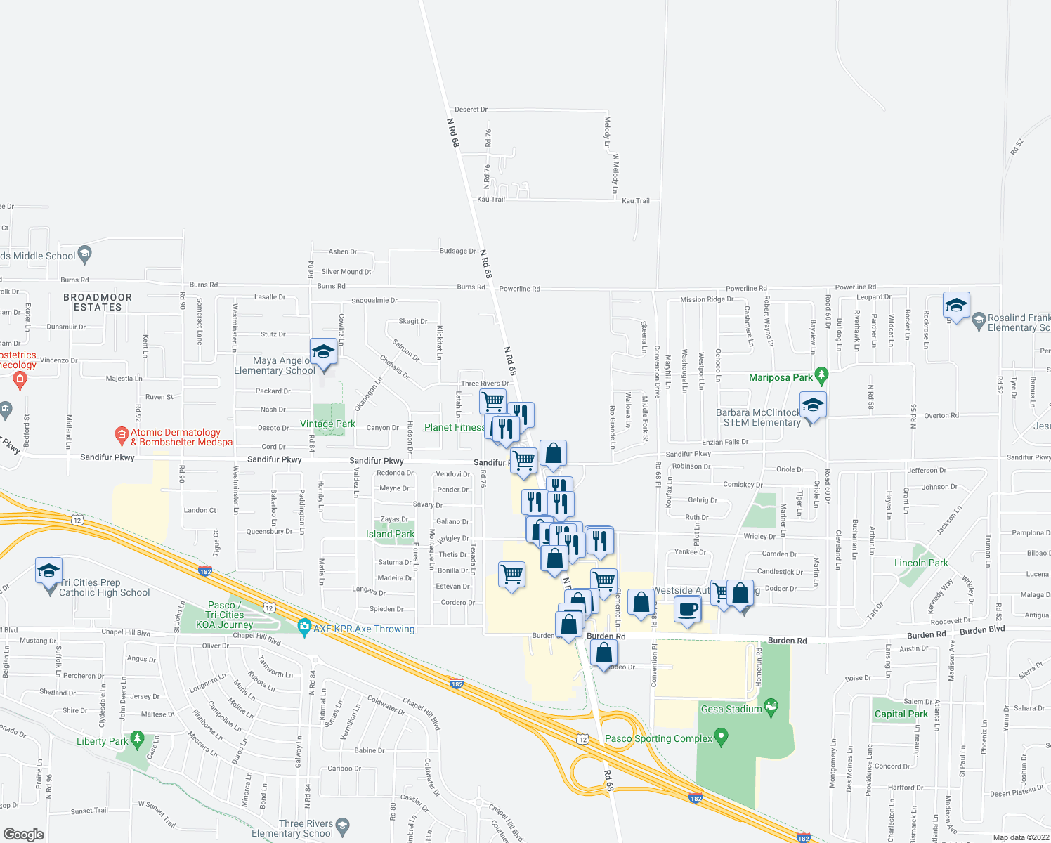 map of restaurants, bars, coffee shops, grocery stores, and more near 6212 North Road 68 in Pasco