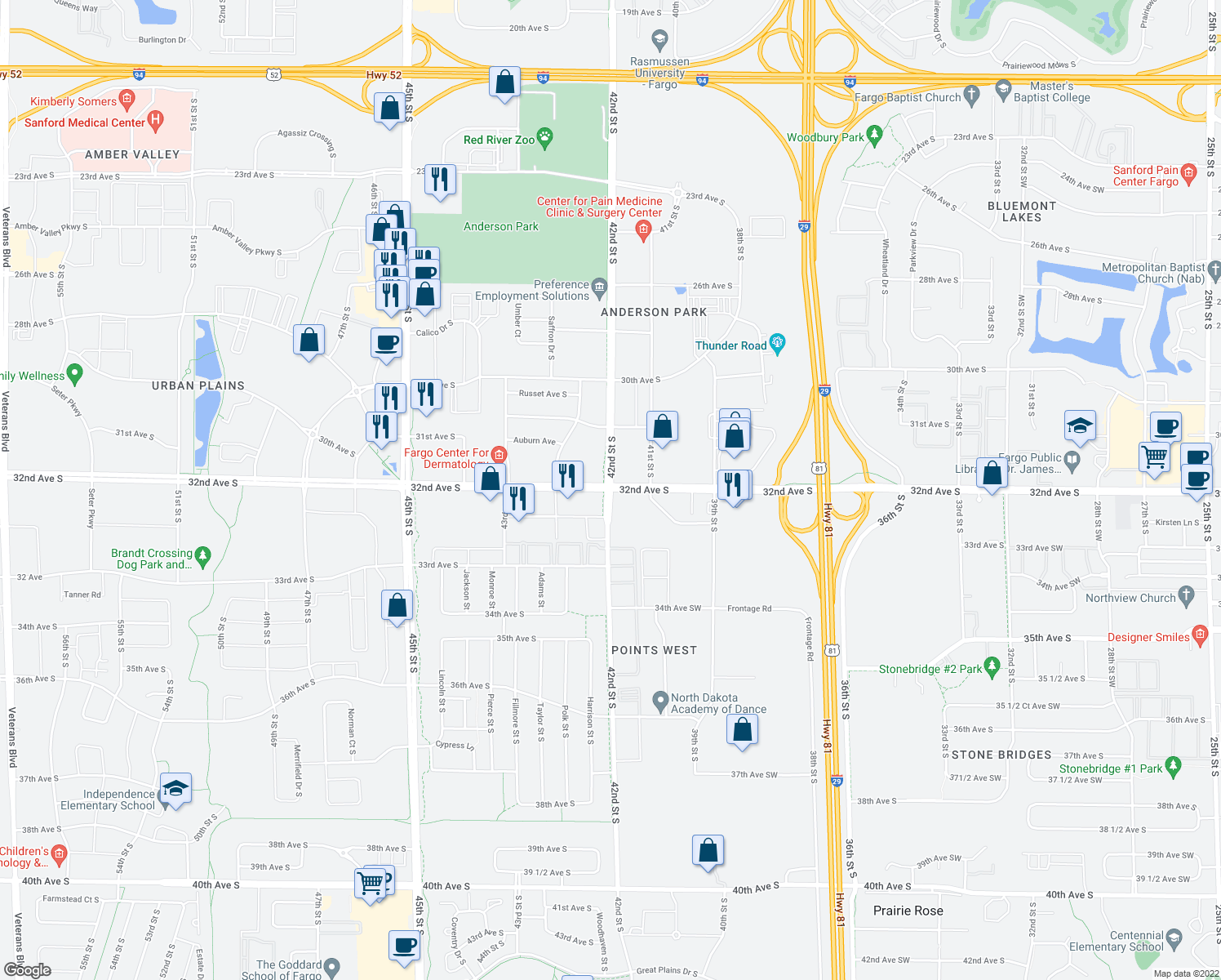 map of restaurants, bars, coffee shops, grocery stores, and more near 32nd Ave S & 42nd St S in Fargo