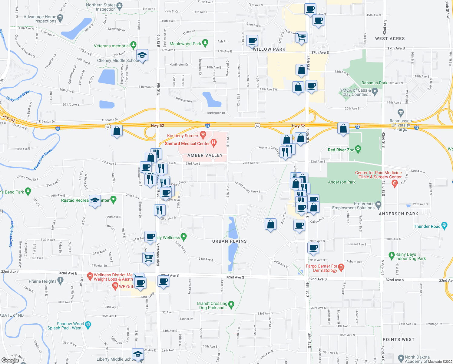 map of restaurants, bars, coffee shops, grocery stores, and more near 5055 Amber Valley Parkway South in Fargo