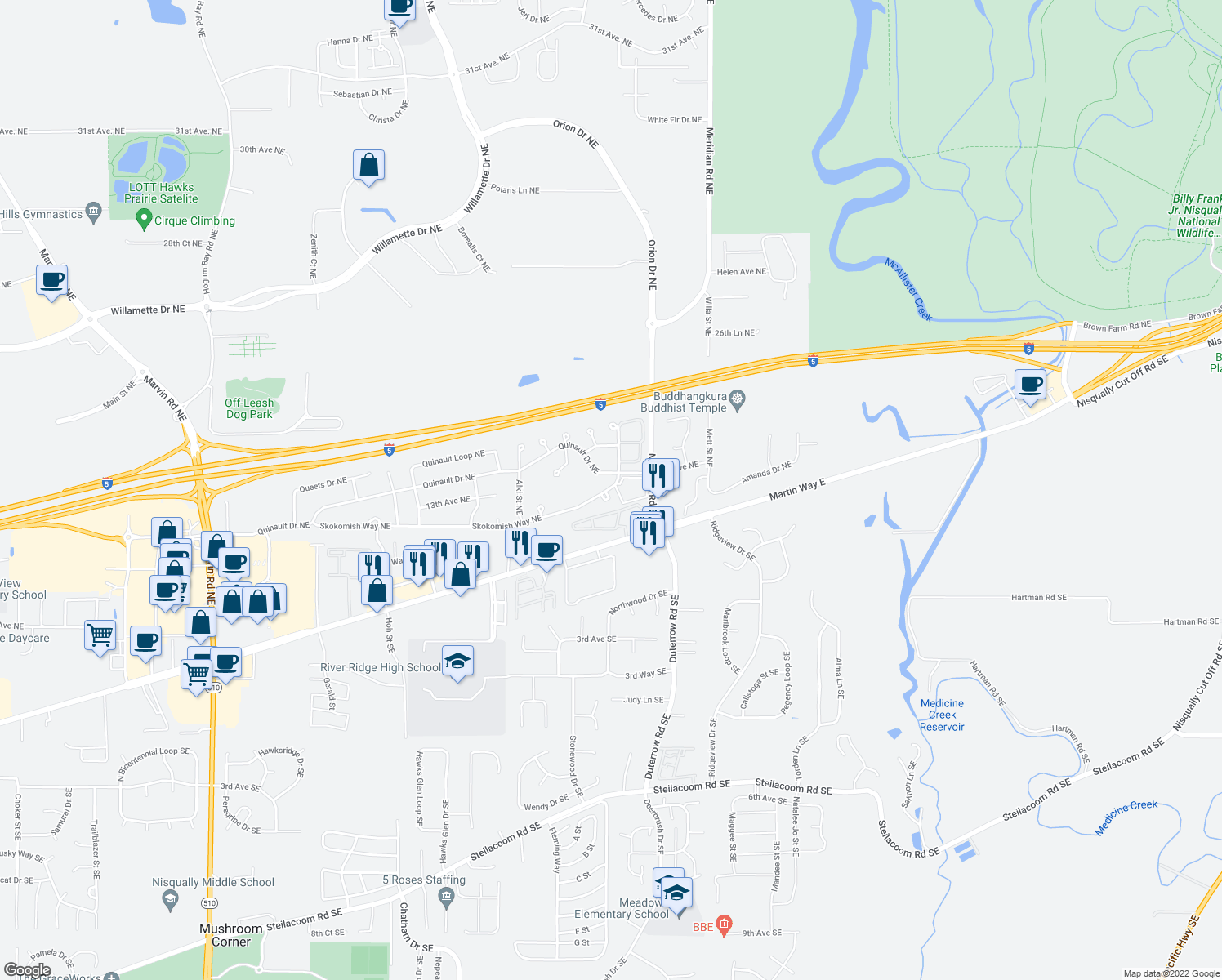 map of restaurants, bars, coffee shops, grocery stores, and more near 9231 Skokomish Way Northeast in Olympia
