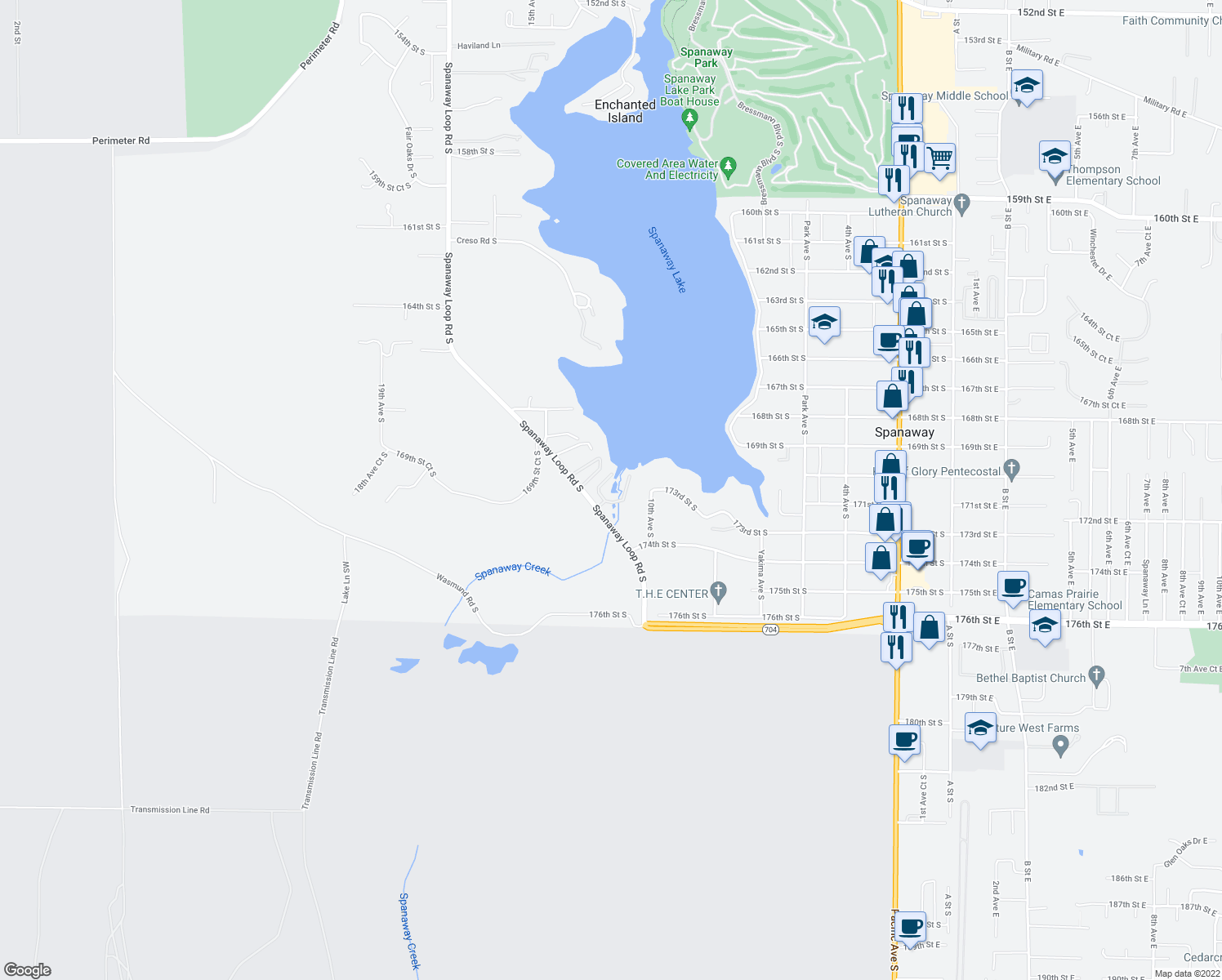 map of restaurants, bars, coffee shops, grocery stores, and more near 17303 Spanaway Loop Road South in Spanaway