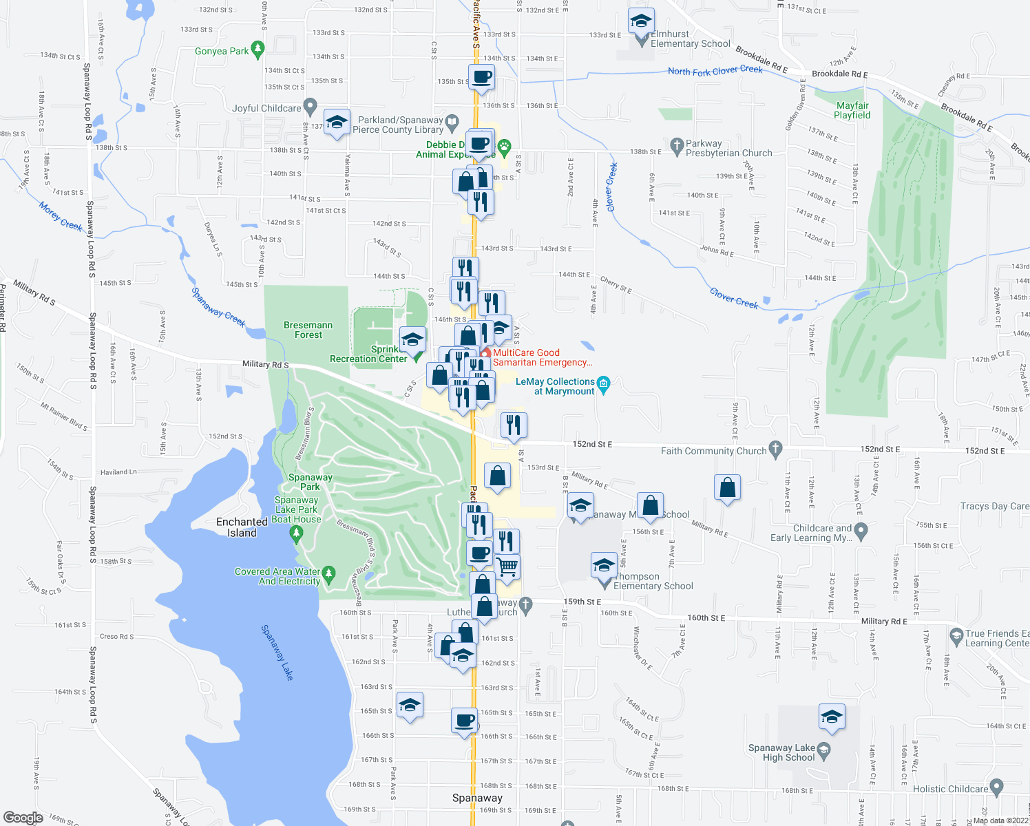 map of restaurants, bars, coffee shops, grocery stores, and more near 1st Avct East in Parkland