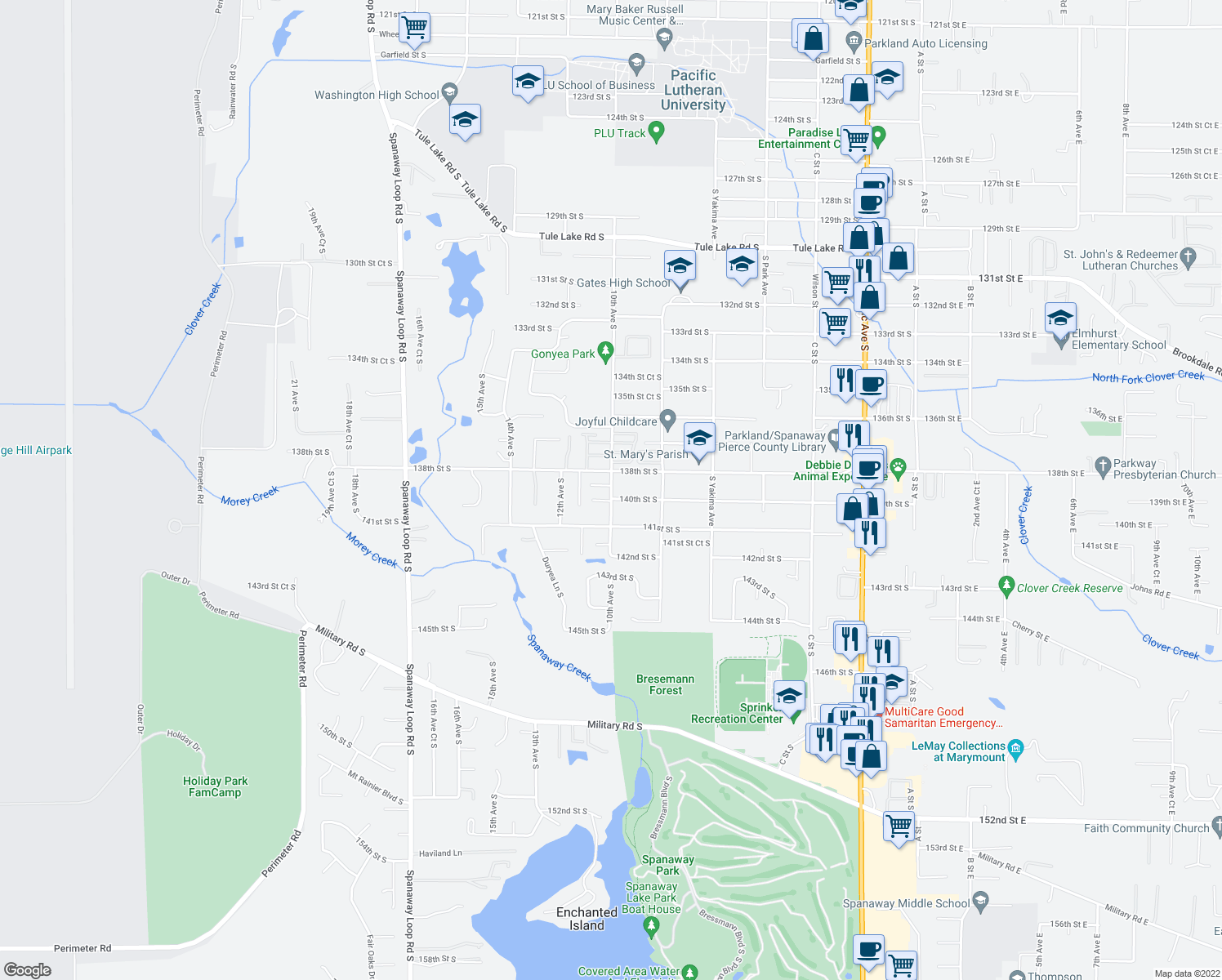map of restaurants, bars, coffee shops, grocery stores, and more near 13724-13798 10th Avenue South in Parkland
