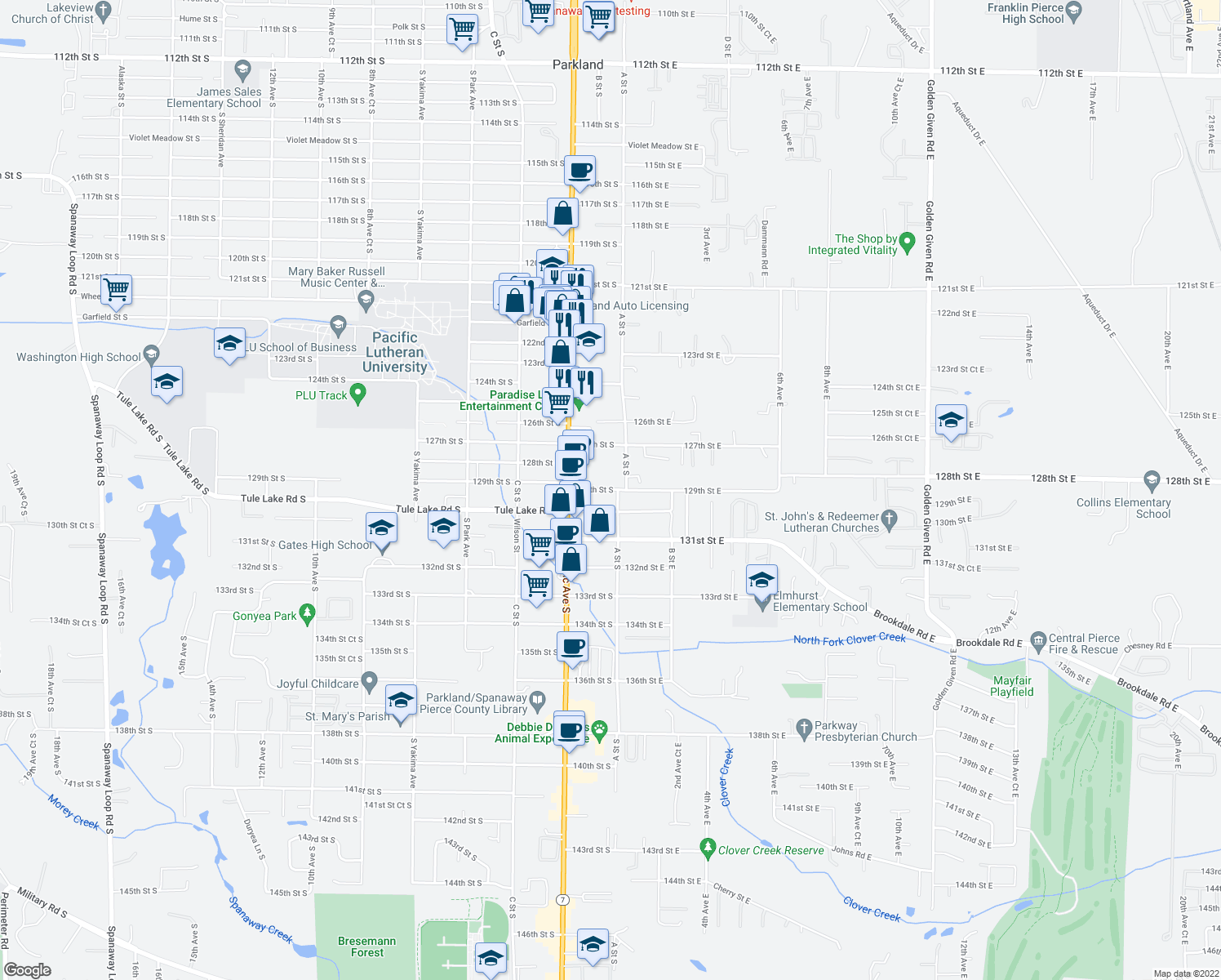 map of restaurants, bars, coffee shops, grocery stores, and more near 111-121 129th St S in Tacoma