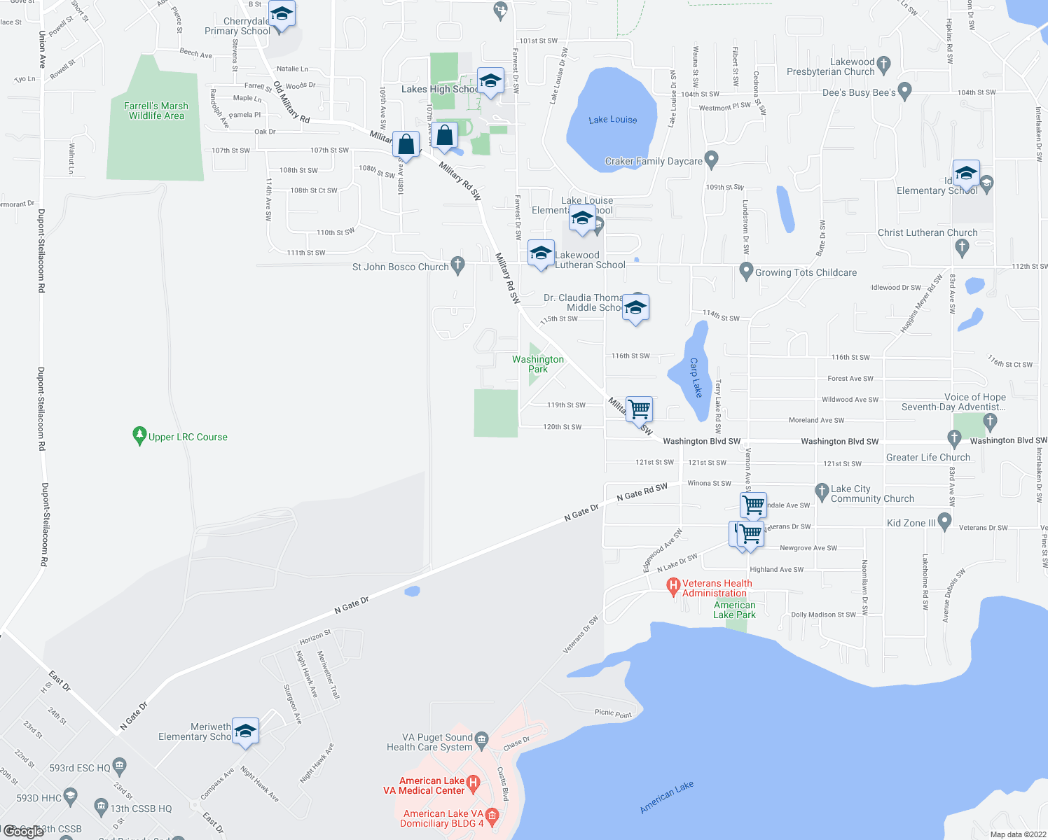 map of restaurants, bars, coffee shops, grocery stores, and more near 11921 Farwest Dr SW in Lakewood