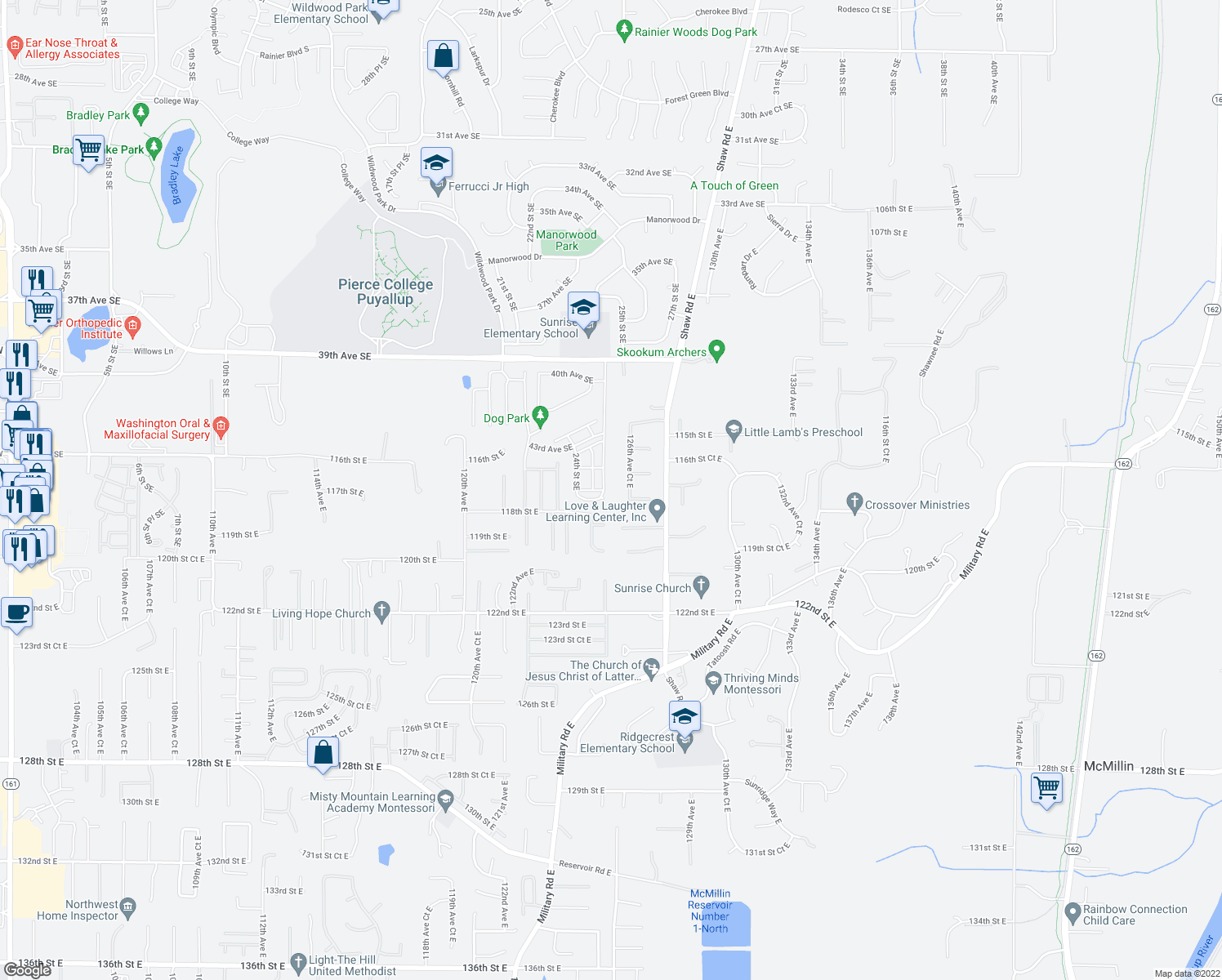 map of restaurants, bars, coffee shops, grocery stores, and more near 2416 46th Ave SE in Puyallup