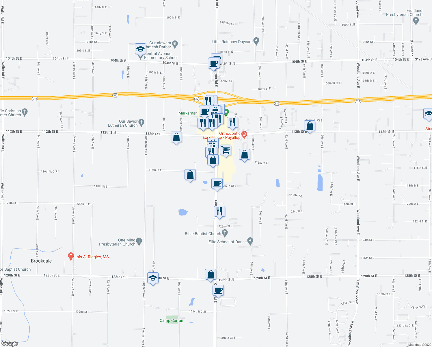 map of restaurants, bars, coffee shops, grocery stores, and more near 11509 Canyon Road East in Puyallup