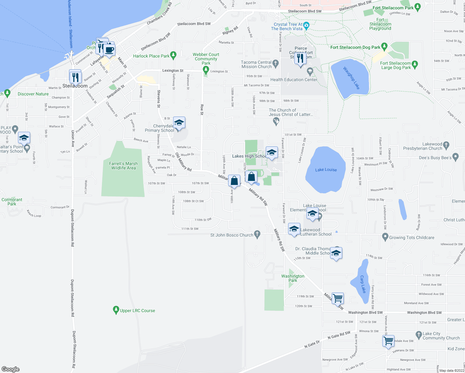 map of restaurants, bars, coffee shops, grocery stores, and more near 10811 108th Street Southwest in Tacoma