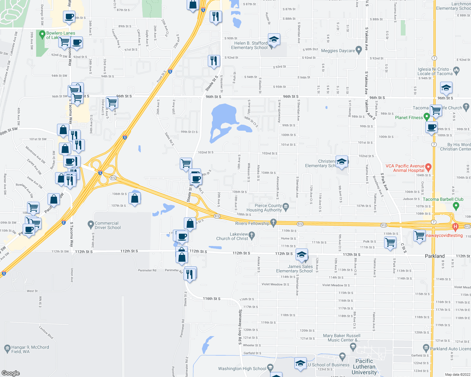 map of restaurants, bars, coffee shops, grocery stores, and more near 1809 105th Street Court South in Tacoma