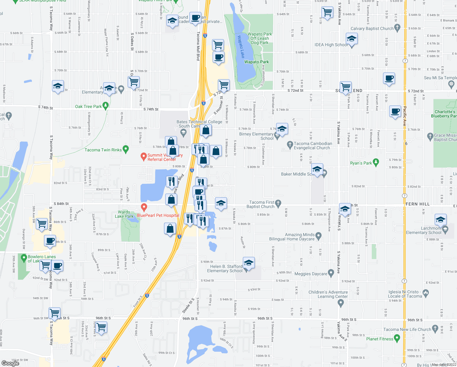 map of restaurants, bars, coffee shops, grocery stores, and more near 1721 South 82nd Street in Tacoma