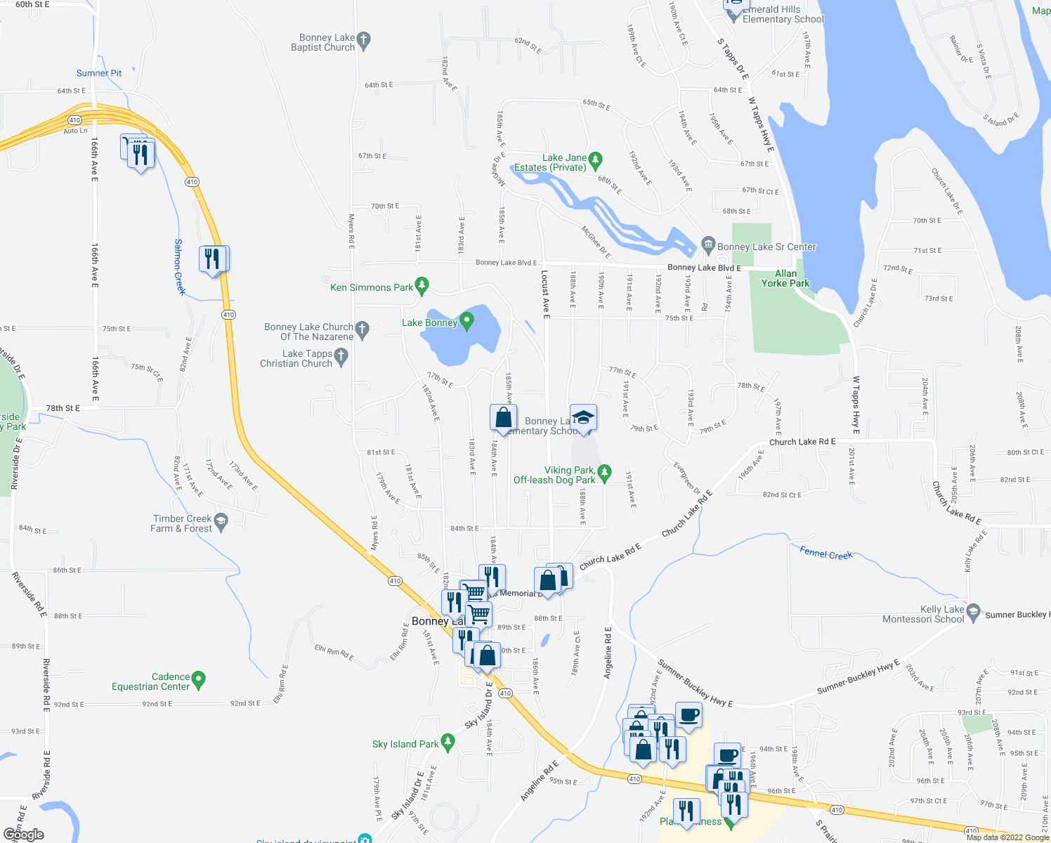 map of restaurants, bars, coffee shops, grocery stores, and more near 7724 185th Ave E in Bonney Lake