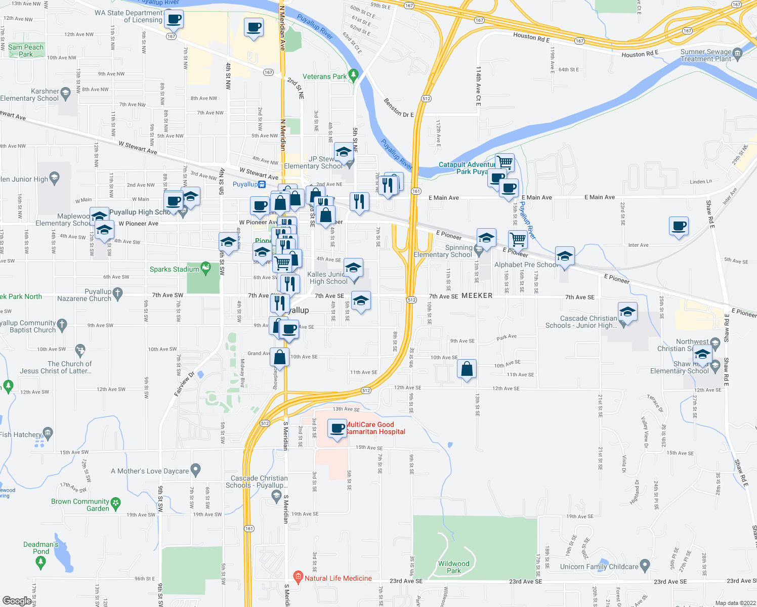 map of restaurants, bars, coffee shops, grocery stores, and more near 720 7th Street Southeast in Puyallup