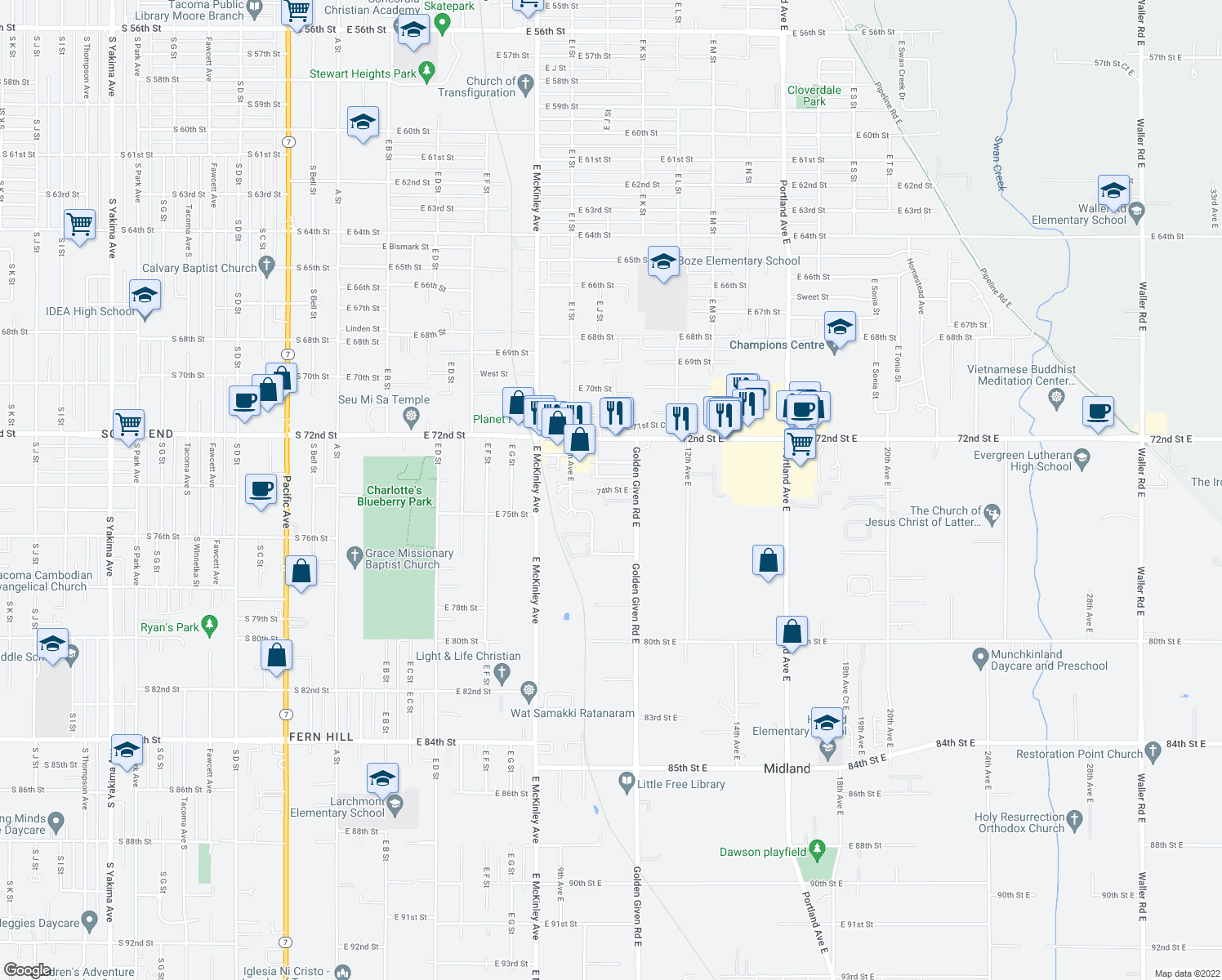 map of restaurants, bars, coffee shops, grocery stores, and more near 961-1099 74th Street East in Tacoma