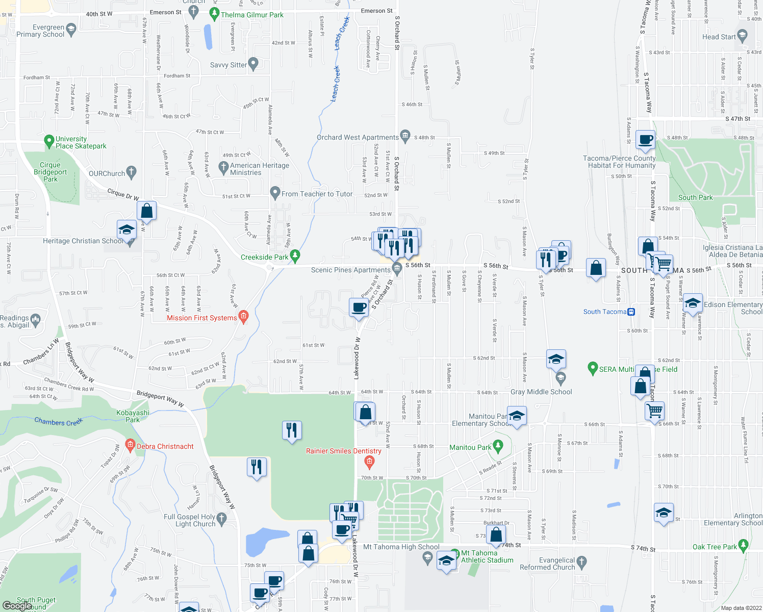 map of restaurants, bars, coffee shops, grocery stores, and more near 5801 Orchard St W in Tacoma