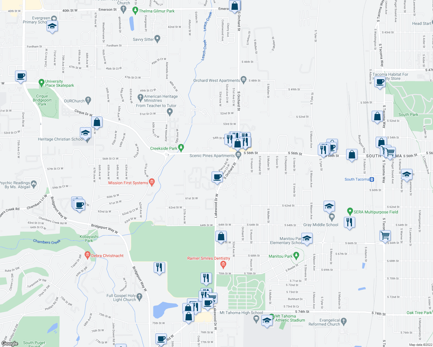 map of restaurants, bars, coffee shops, grocery stores, and more near 5656-5698 Hannah Pierce Road West in University Place