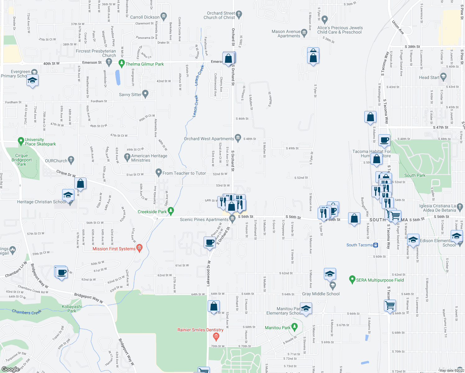 map of restaurants, bars, coffee shops, grocery stores, and more near 5203 South Orchard Street in University Place