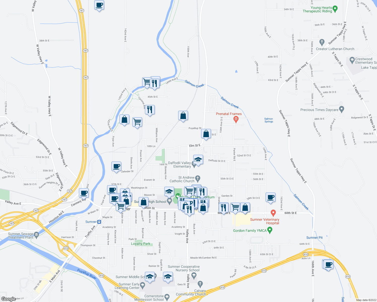 map of restaurants, bars, coffee shops, grocery stores, and more near 1616-1715 Valley Avenue in Sumner