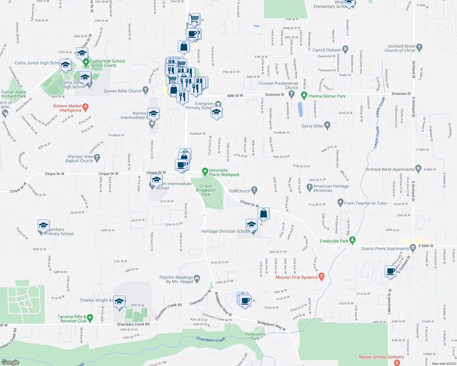 map of restaurants, bars, coffee shops, grocery stores, and more near 6124 70th Avenue Court West in University Place