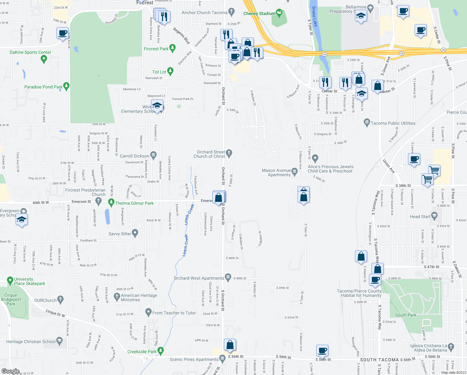 map of restaurants, bars, coffee shops, grocery stores, and more near 3701 South Orchard Street in Tacoma