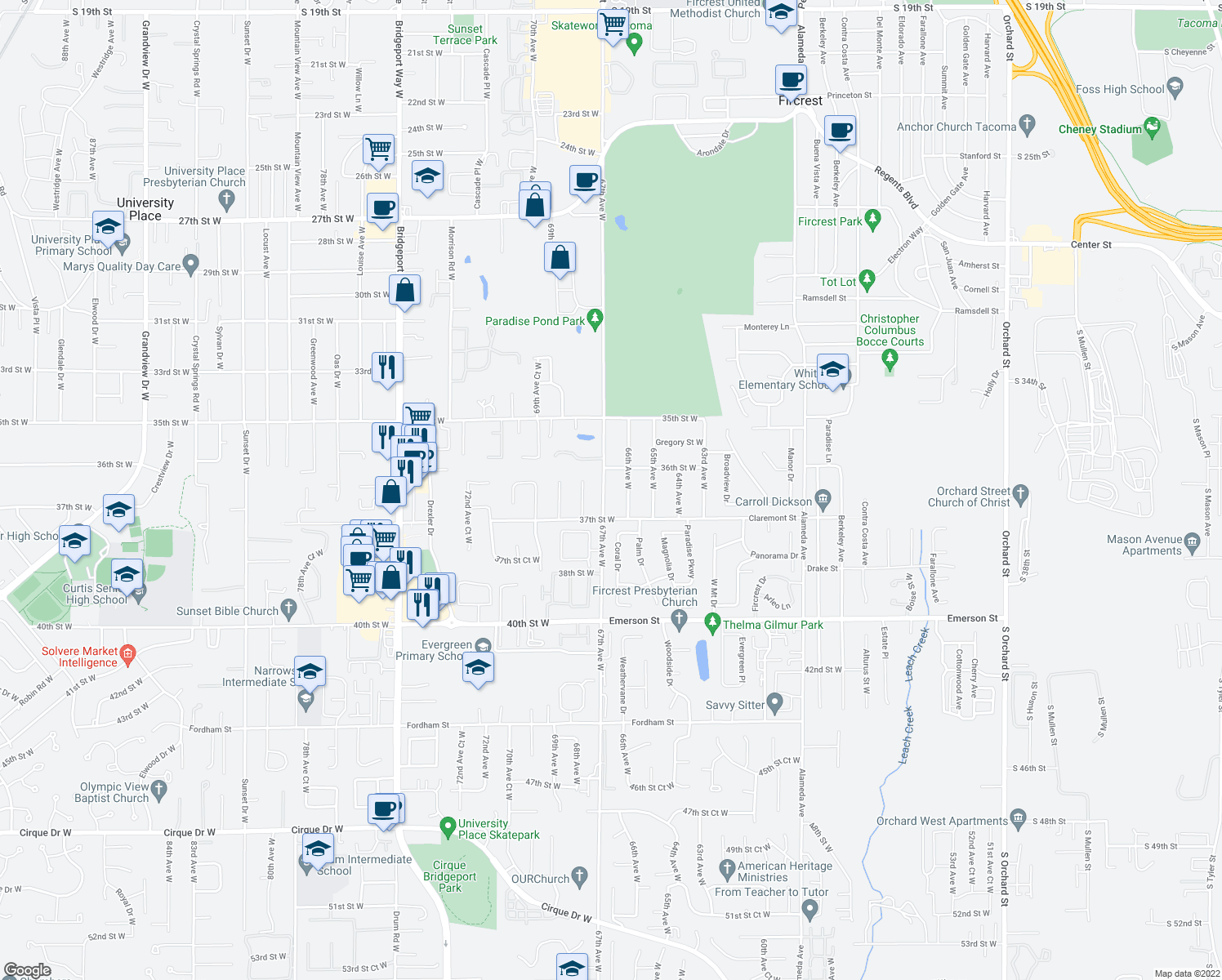 map of restaurants, bars, coffee shops, grocery stores, and more near 3619 67th Avenue West in University Place