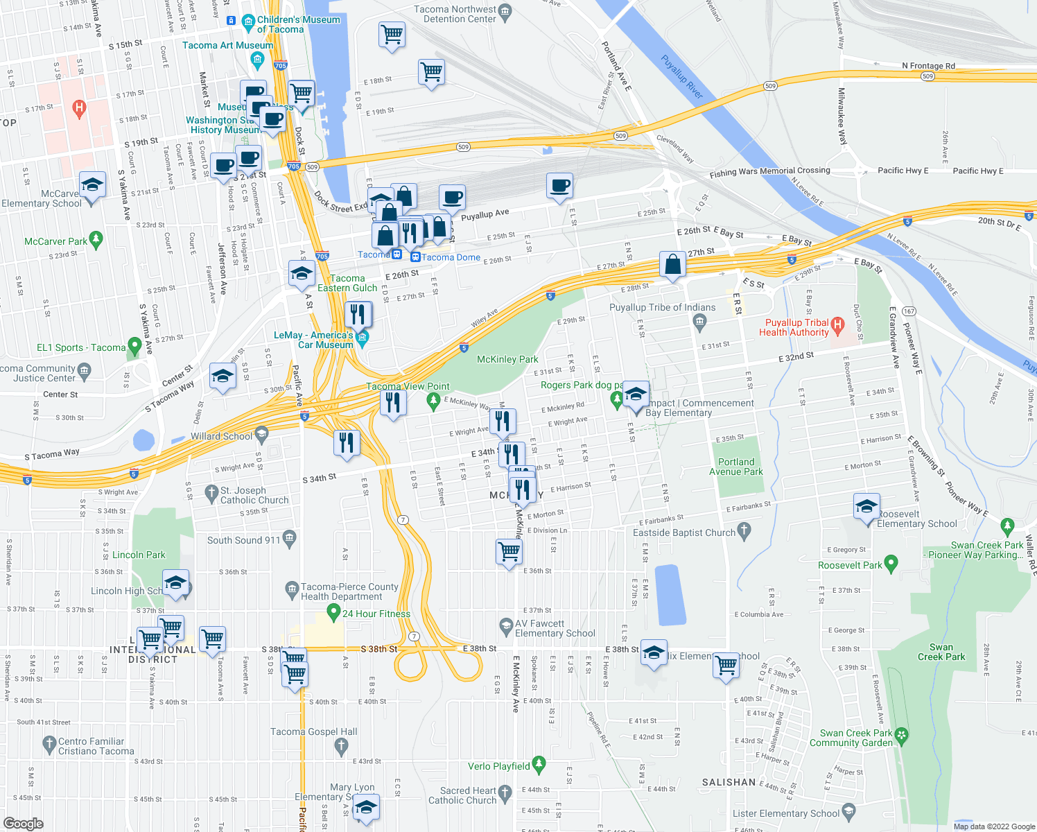 map of restaurants, bars, coffee shops, grocery stores, and more near 3202 East I Street in Tacoma