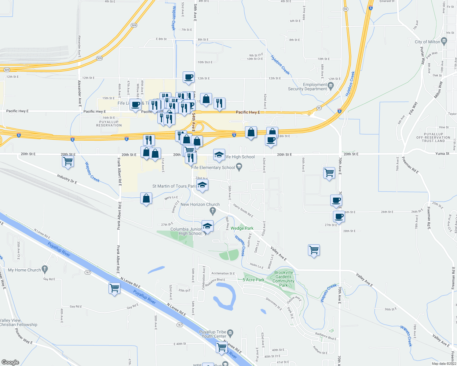 map of restaurants, bars, coffee shops, grocery stores, and more near 5537-5799 23rd Street East in Tacoma