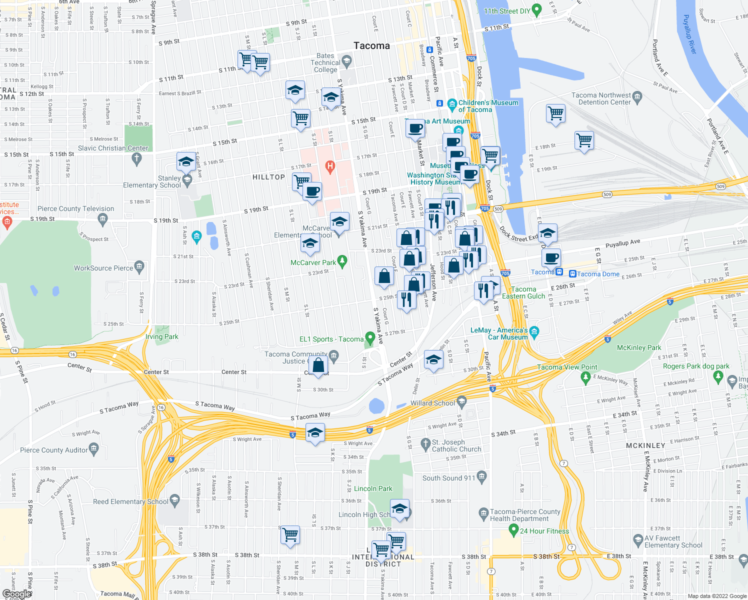 map of restaurants, bars, coffee shops, grocery stores, and more near S Yakima Ave & S 25th St in Tacoma
