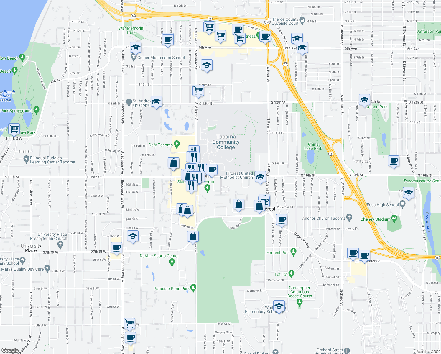 map of restaurants, bars, coffee shops, grocery stores, and more near 1900-1998 64th Avenue West in Fircrest