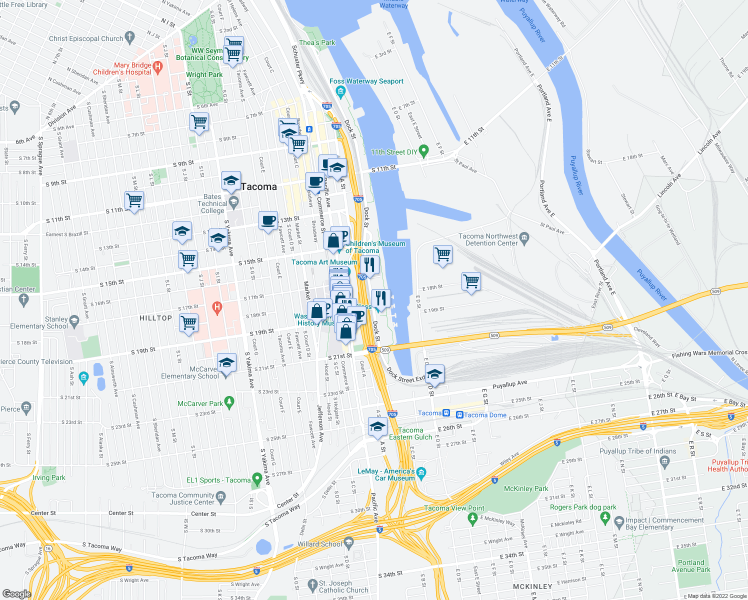 map of restaurants, bars, coffee shops, grocery stores, and more near 1703C Dock Street in Tacoma