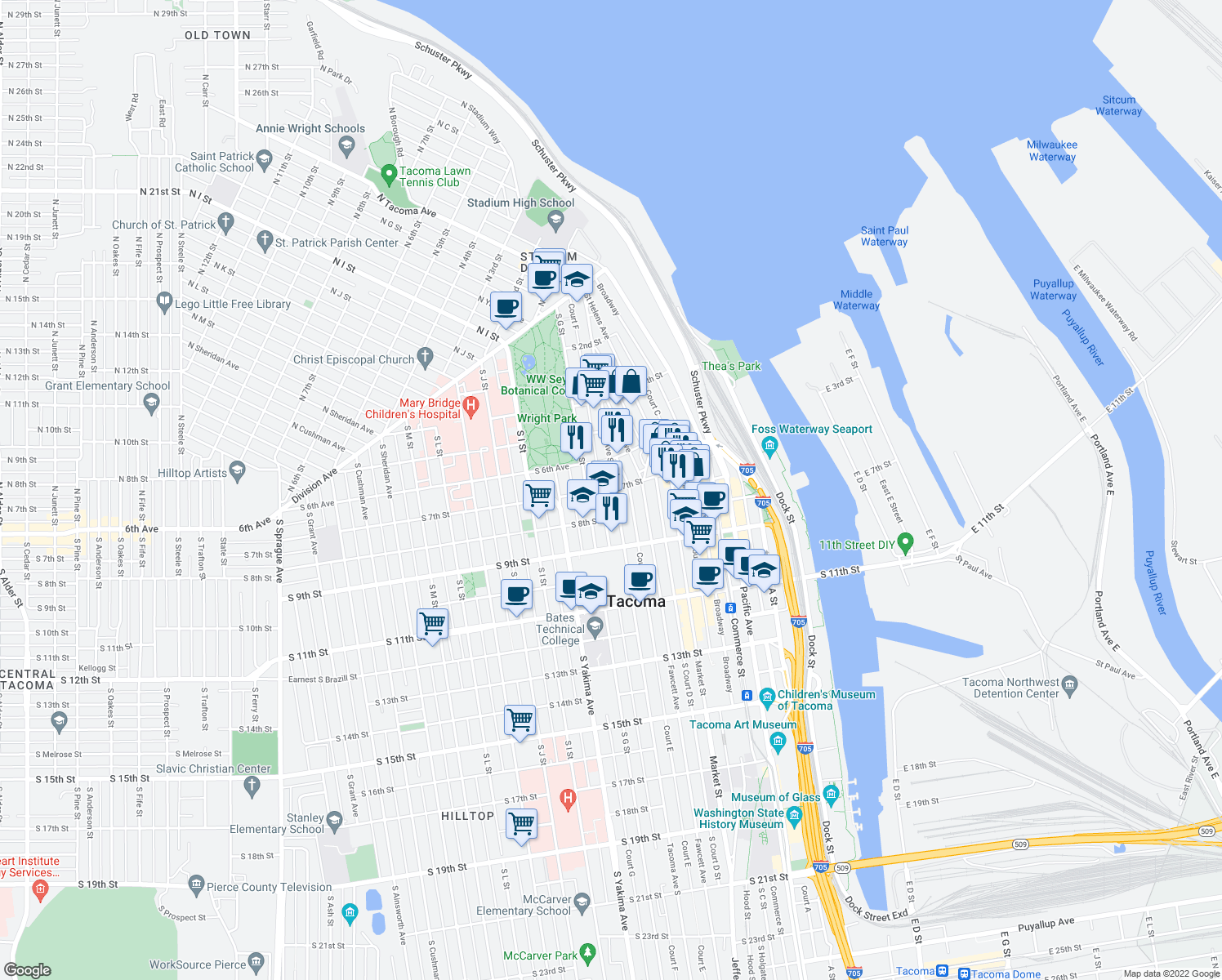 map of restaurants, bars, coffee shops, grocery stores, and more near 600-698 Court East in Tacoma