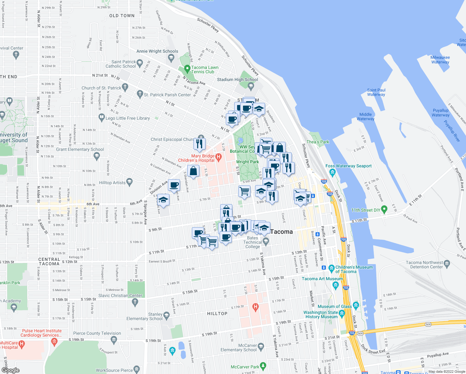 map of restaurants, bars, coffee shops, grocery stores, and more near 949-999 South 6th Avenue in Tacoma