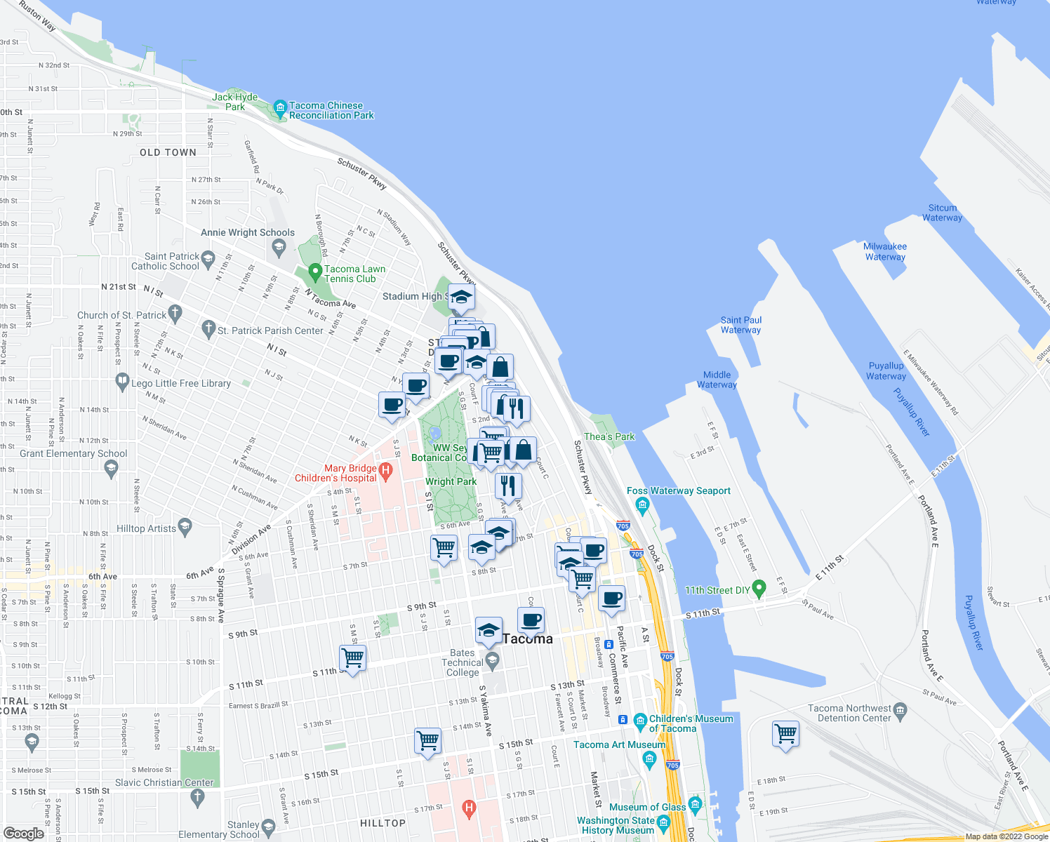 map of restaurants, bars, coffee shops, grocery stores, and more near 220 Broadway in Tacoma
