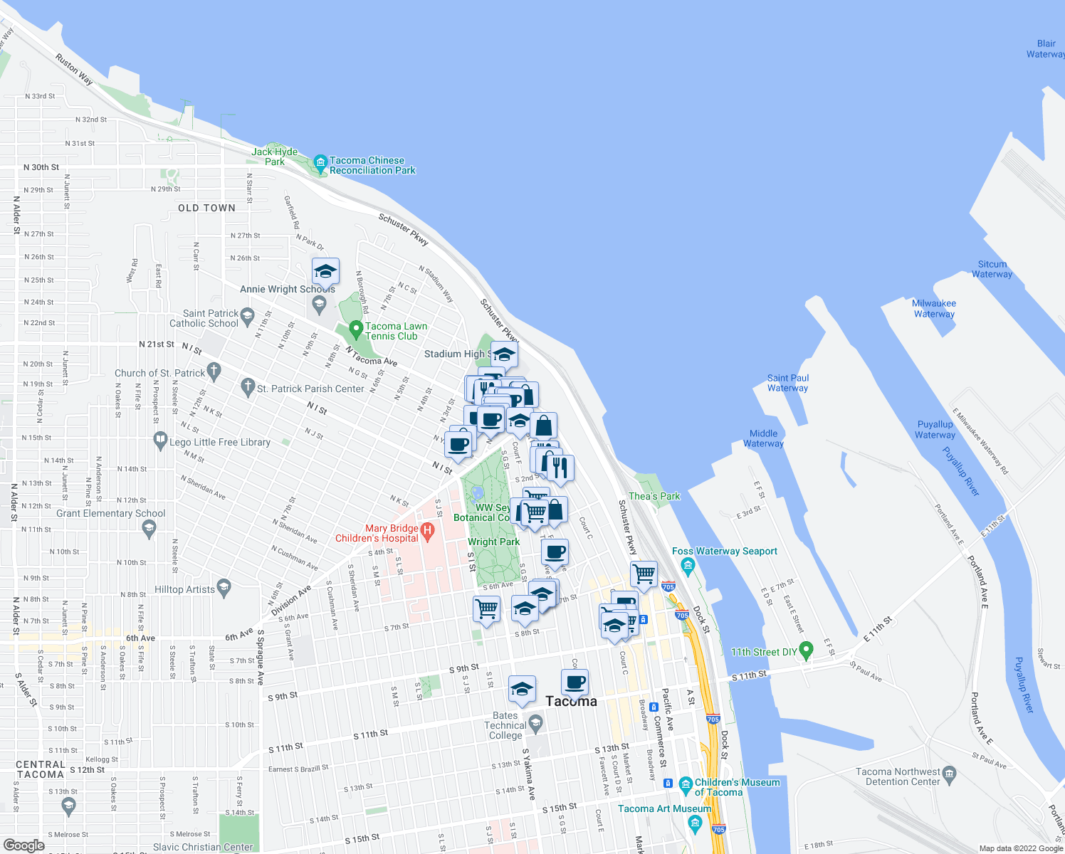 map of restaurants, bars, coffee shops, grocery stores, and more near 1 St Helens Ave in Tacoma