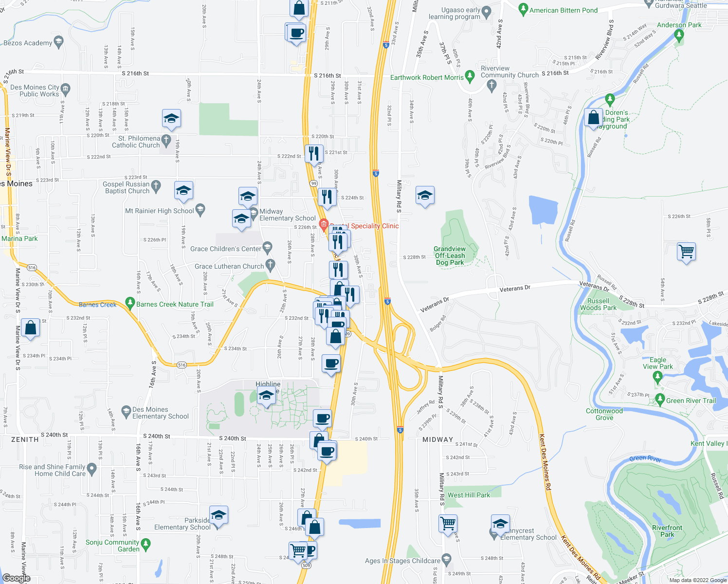 map of restaurants, bars, coffee shops, grocery stores, and more near 22921 30th Avenue South in Des Moines