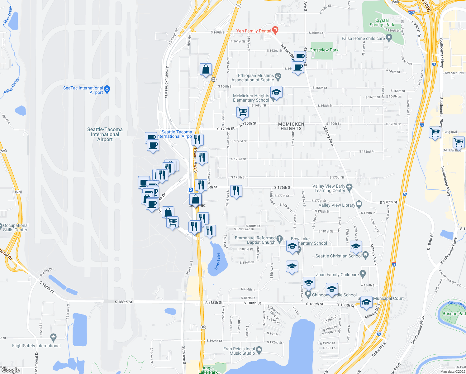 map of restaurants, bars, coffee shops, grocery stores, and more near 3287-3347 South 176th Street in SeaTac
