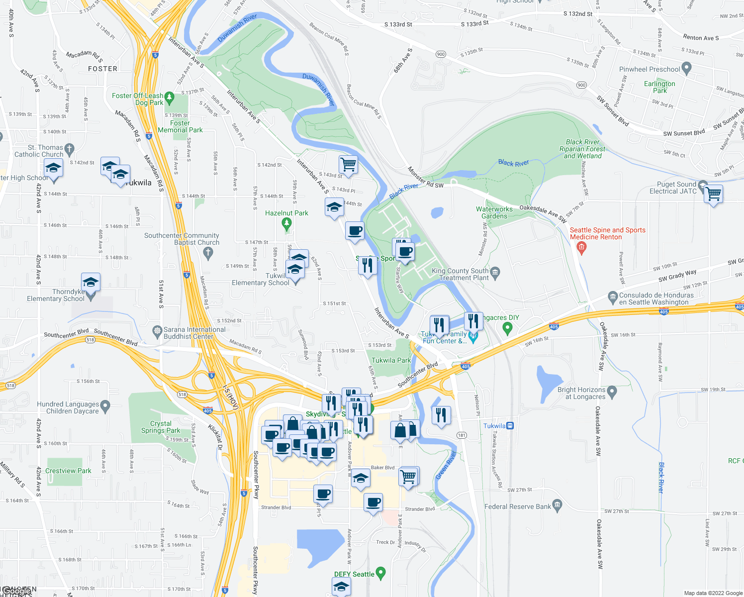 map of restaurants, bars, coffee shops, grocery stores, and more near 15100 65th Avenue South in Tukwila