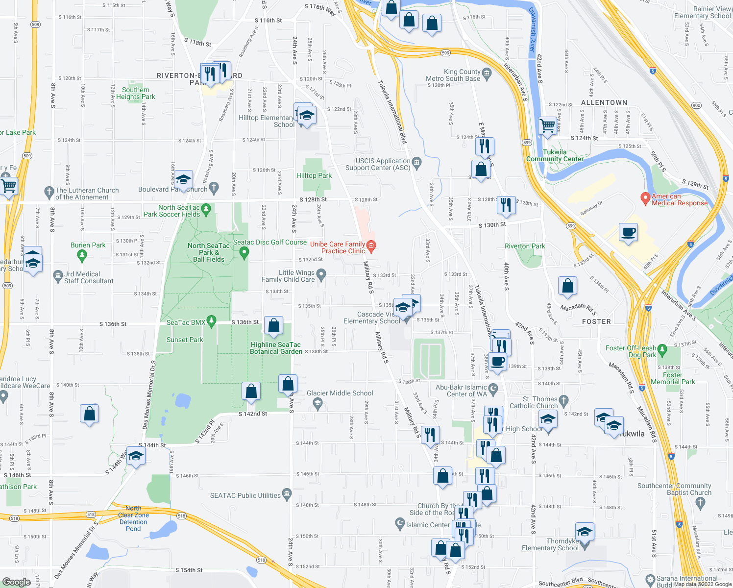 map of restaurants, bars, coffee shops, grocery stores, and more near 13339 Military Road South in Tukwila