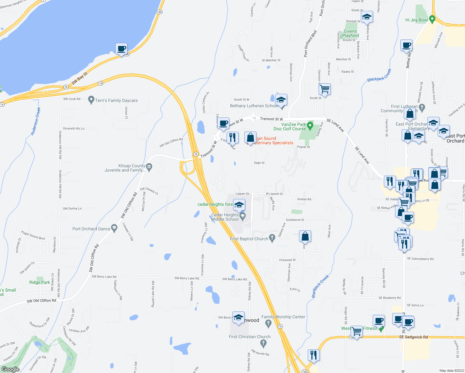 map of restaurants, bars, coffee shops, grocery stores, and more near 323-349 Lippert Drive in Port Orchard