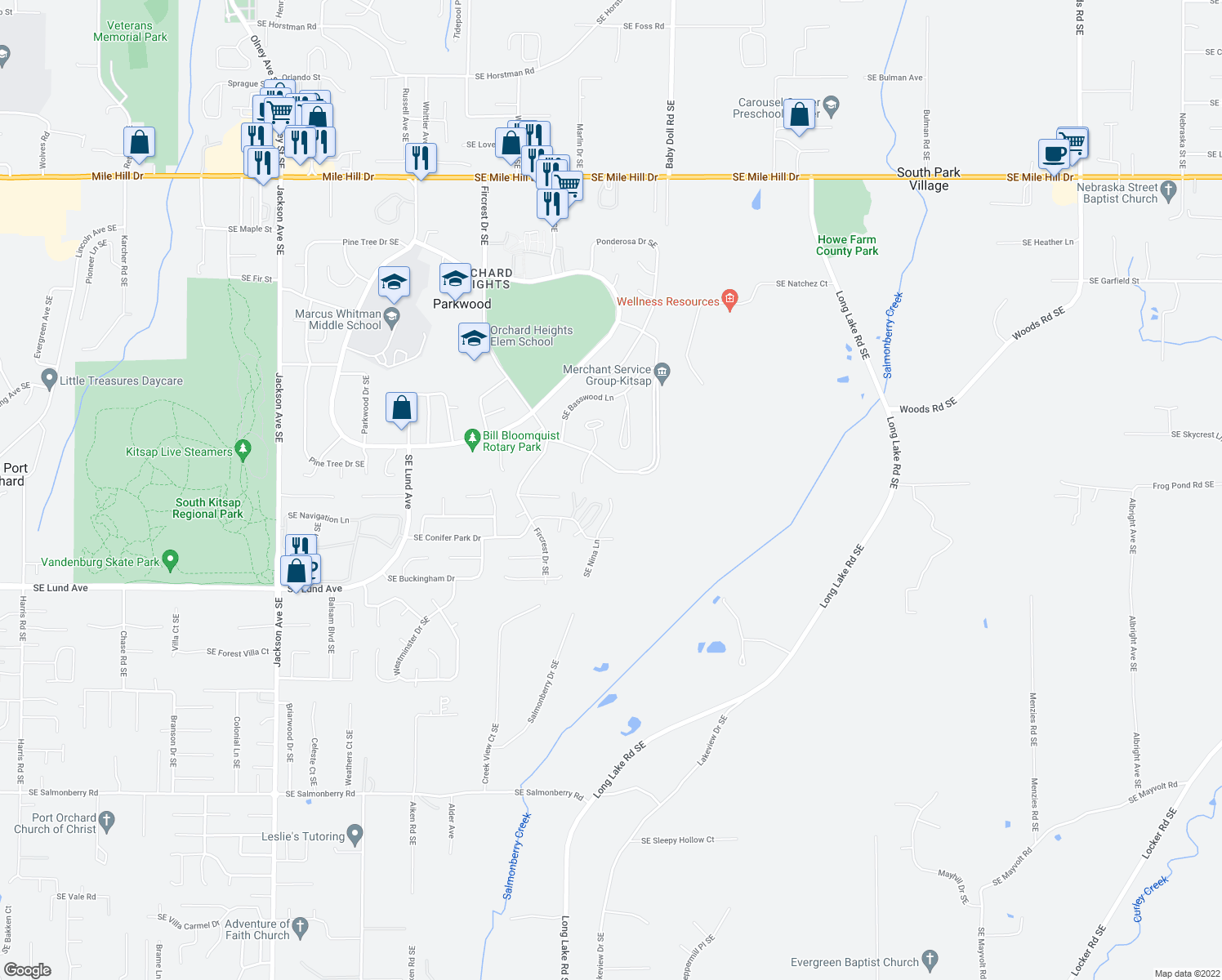 map of restaurants, bars, coffee shops, grocery stores, and more near 2827 Rocky Creek Lane Southeast in Port Orchard