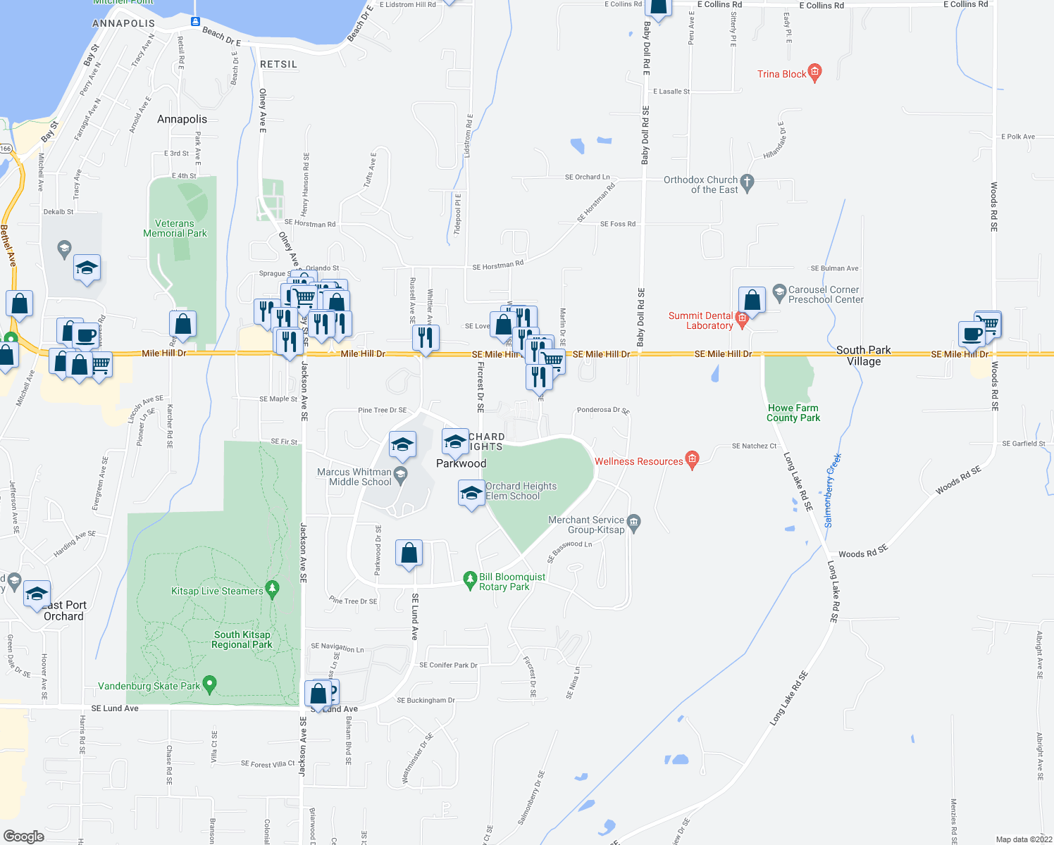 map of restaurants, bars, coffee shops, grocery stores, and more near None in Parkwood