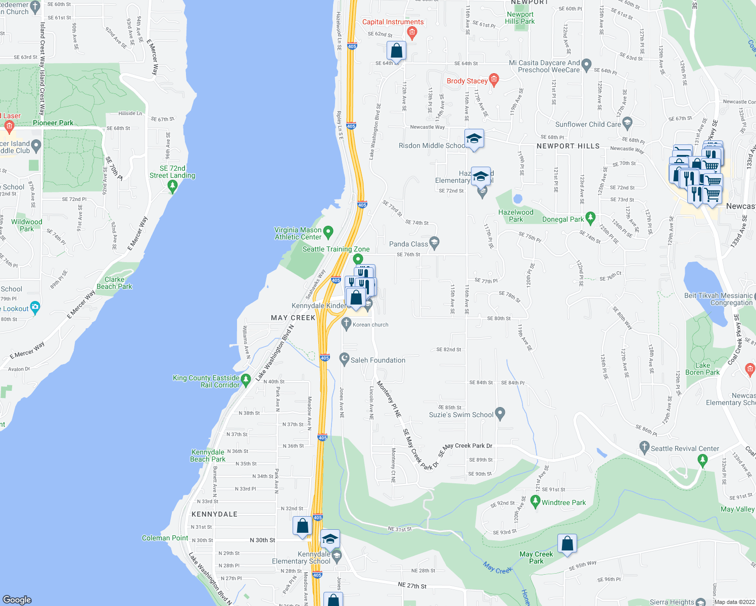 map of restaurants, bars, coffee shops, grocery stores, and more near 7900 110th Ave SE in Newcastle