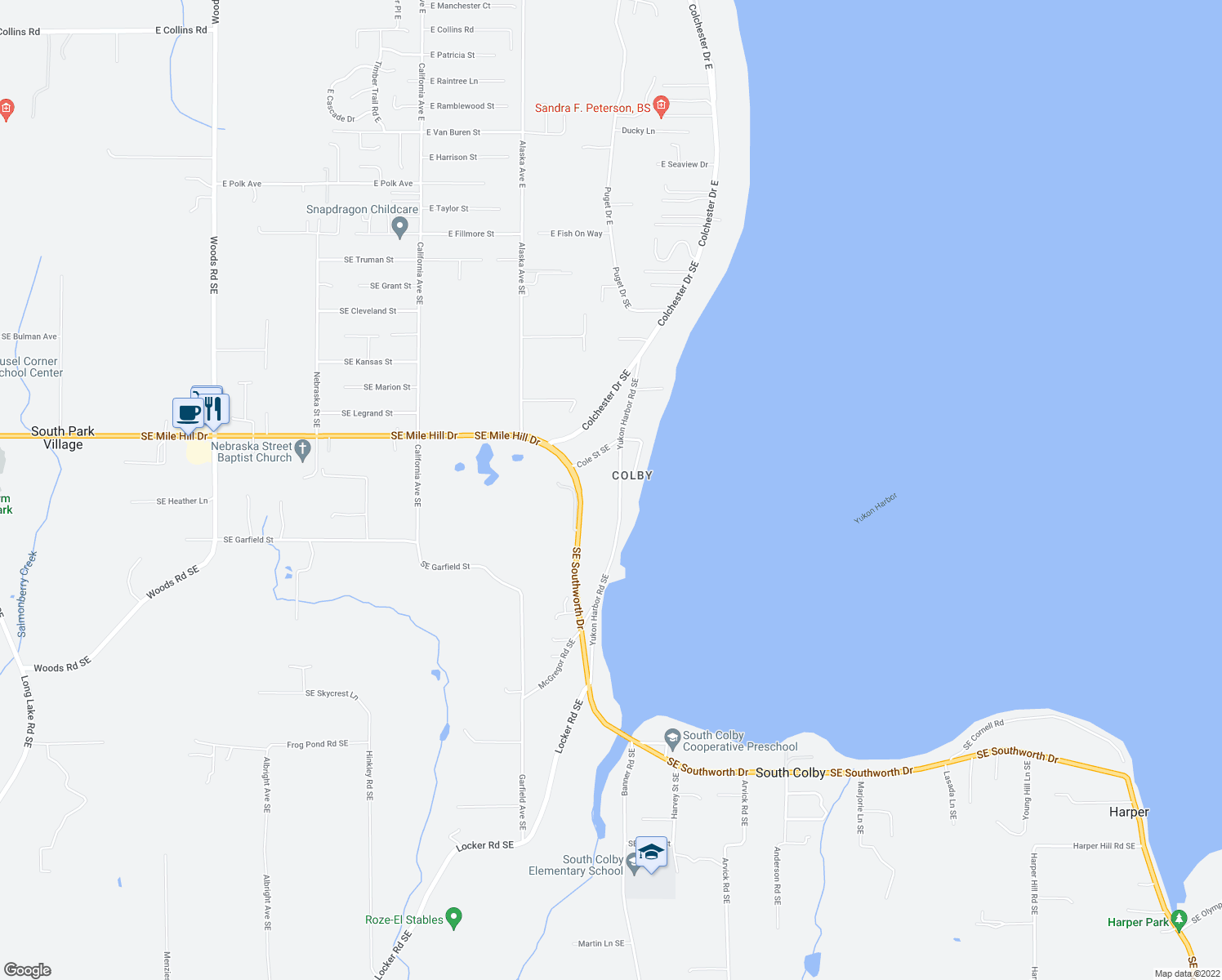 map of restaurants, bars, coffee shops, grocery stores, and more near 1888 Yukon Harbor Rd SE in Port Orchard