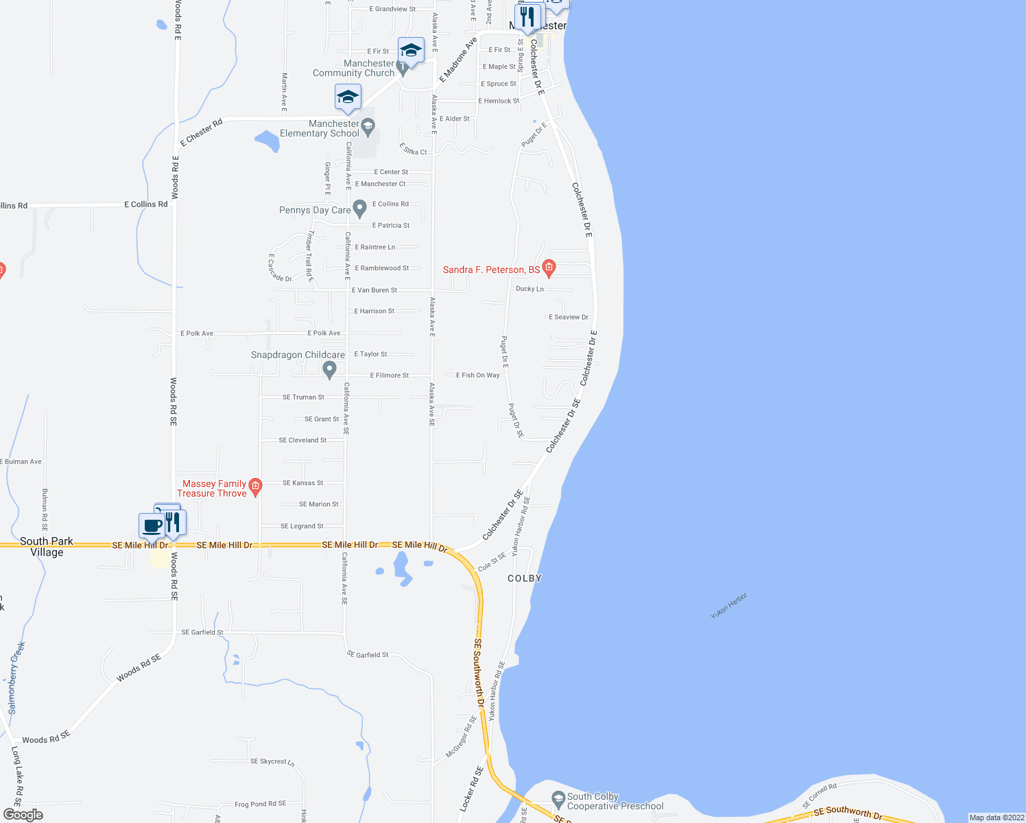 map of restaurants, bars, coffee shops, grocery stores, and more near 7931 Southeast Puget Heights Lane in Port Orchard