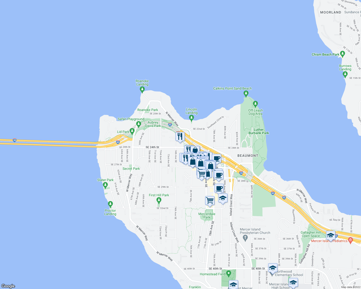 map of restaurants, bars, coffee shops, grocery stores, and more near 7420 Southeast 24th Street in Mercer Island